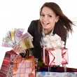 Stock Photo: Business womwith money, gift box