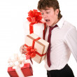 Man with falling gift box. — Stock Photo