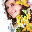 Girl with butterfly and flower on head. — Stock Photo #2267064