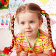 Child with chalk draw in playroom. — Stockfoto #2267178