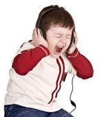 Boy in headphones listen music. — Stock Photo