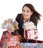 Business woman with money, gift box — Stock Photo