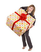 Business woman with gift box. — Stock Photo