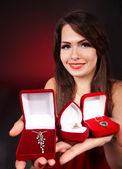 Girl with group jewellery box. — Stock Photo