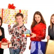 Group of and gift box. — Stock Photo