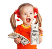 Child girl with money dollar banknote. — Stock Photo