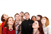 Big group of looking up. — Stock Photo