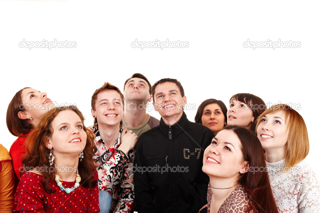 Big group of looking up. Isolated.  Stock Photo #2279341