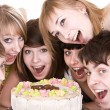 Group of teenagers celebrate birthday. — Foto Stock #2282458