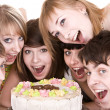 Group of teenagers celebrate birthday. — Stock Photo #2282458