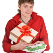 Man with money and gift box. — Stock Photo