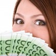 Stock Photo: Woman with group of money.