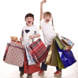 Boy and girl with shopping bag. — Stock Photo