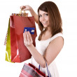 Girl with bag and credit card. — Stock Photo #2285103