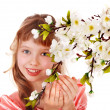 Beautiful girl with spring flower. — Stock Photo #2285404