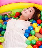 Happy birthday of girl on playground. — Stock Photo