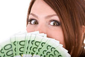 Woman with group of money. — Stock Photo