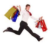 Happy man with shopping bag run. — Stock Photo