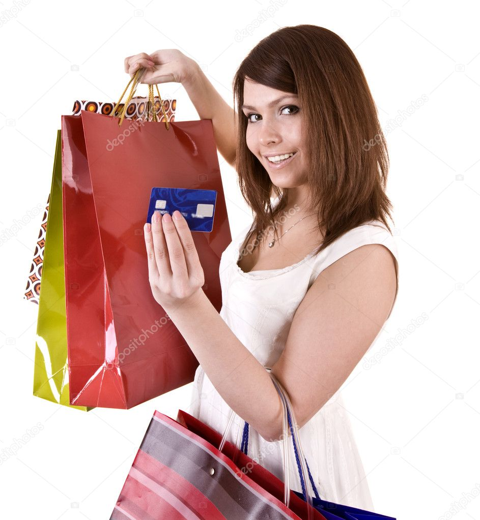 Girl with  bag and credit card. Isolated. — Stock Photo #2285103