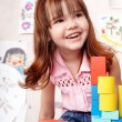 Child with  block and construction - Stock Photo