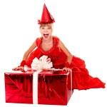 Birthday child girl in red dress — Stock Photo #2301047