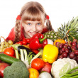 Stock Photo: Child girl with vegetable and fruit