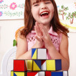 Stock Photo: Child with block and construction set