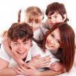 Happy family with two children. - Stock Photo