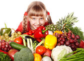 Child girl with vegetable and fruit — Foto Stock
