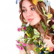 Girl with butterfly and flower on head — Stock Photo #2336390