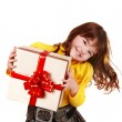 Girl child in yellow with gift box. — Stock Photo