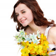 Beautiful girl with wild flower. — Stock Photo