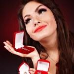 Girl with jewellery gift box. — Stock Photo