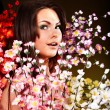 Young woman with group spring flower — Stock Photo #2336990