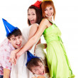 Group of in party hat — 图库照片
