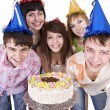 Group of teenagers celebrate birthday — Stock Photo