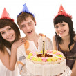 Stock Photo: Group in party hat