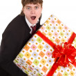 Man with big gift box. — Stock Photo