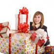 Business woman with gift box. — Foto de Stock
