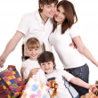 Happy family and child shopping — Stock Photo