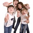 Happy family throw out thumb. — Stock Photo #2534654