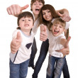 Stock Photo: Happy family throw out thumb.