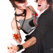 Man and girl with wine dance. — Stock Photo