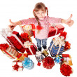 Child girl with group gift box - Stok fotoğraf
