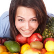 Girl with group of fruit. — Stock Photo #2535056
