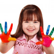 Happy child with colorful painted hands — Stock Photo #2535301