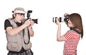 Photographer with digital camera — Stock Photo