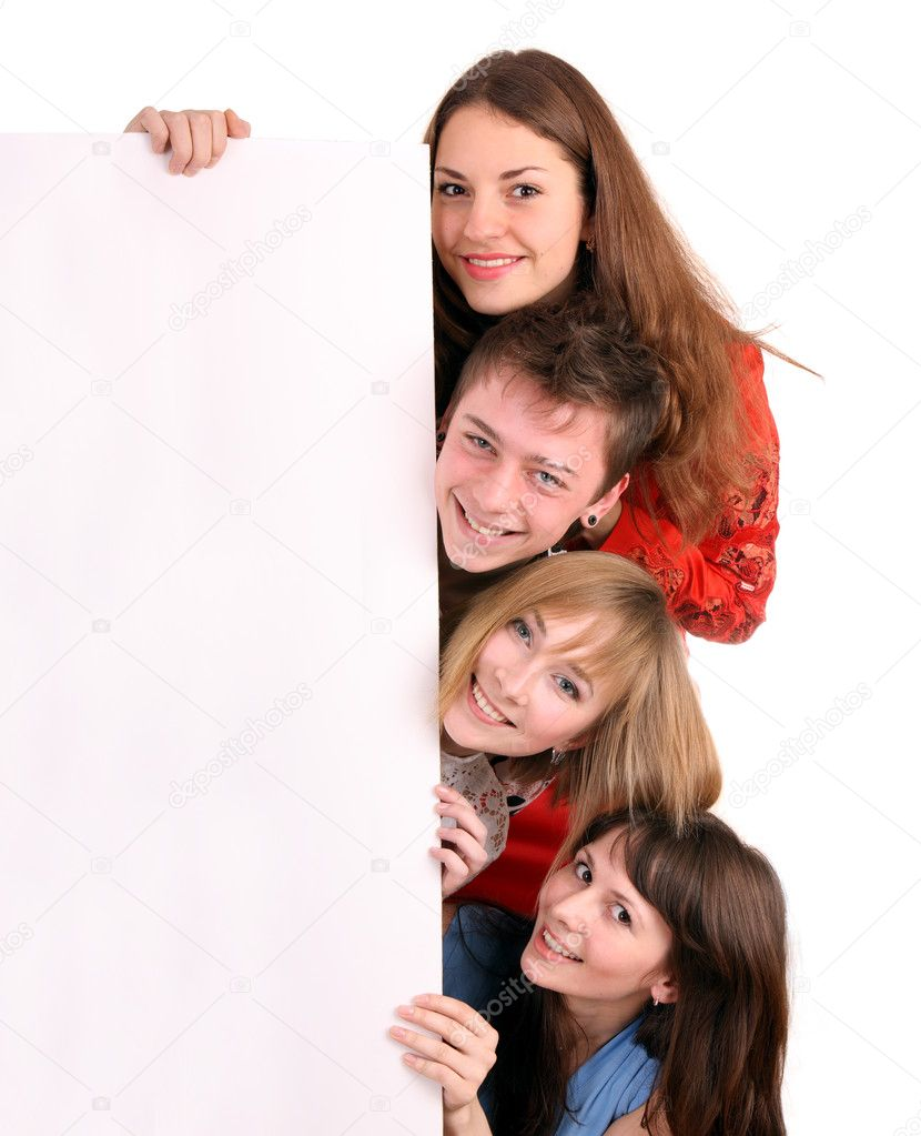 Banner and four young adult. Isolated. — Stock Photo #2533703