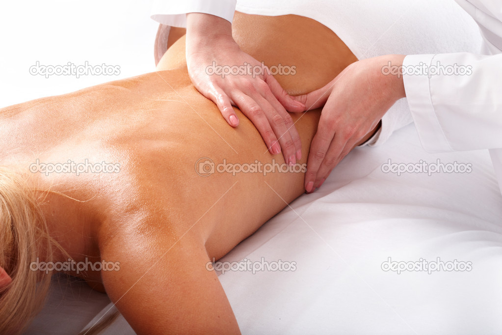 Massage of female back. Spa beauty. — Stock Photo #2533915