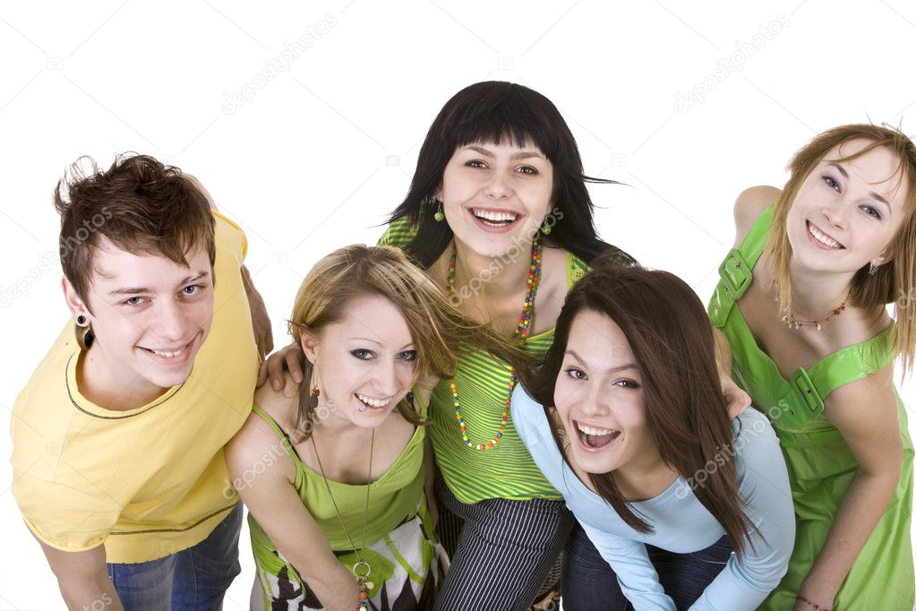 Cheerful group of young . Isolated. — Stock Photo #2534028
